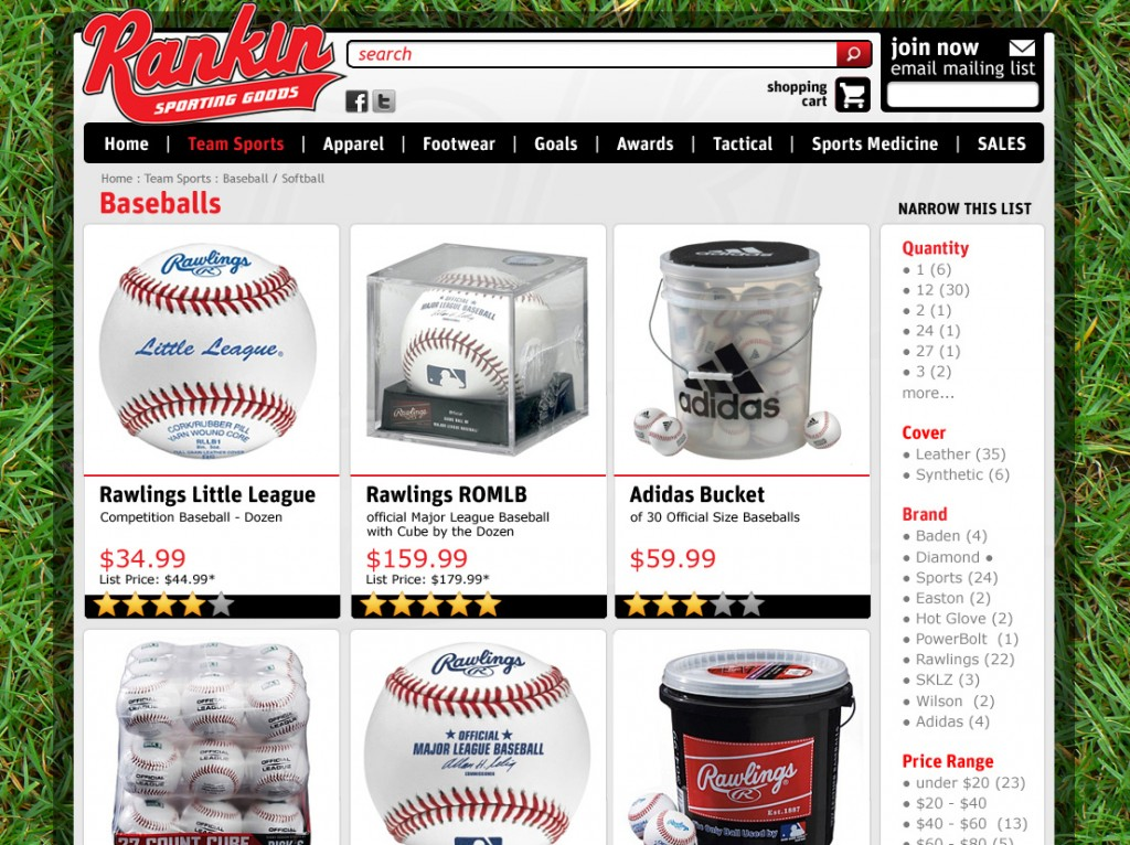 Sporting goods Magento store